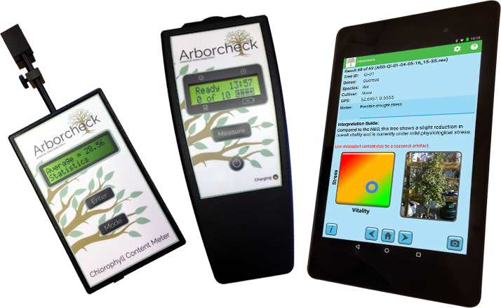 Arborcheck Chlorophyll fluorescence & chlorophyll content stress detection in Arboriculture